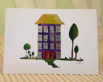 House Greeting Cards Blank Card Congratulations on your New Home Purple Apartments House Warming Sold House Happy House Home First Home