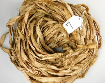 Silk Sari Ribbon, recycled sari ribbon, Sari Silk Ribbon, Sari ribbon, camel brown sari ribbon, tassel supply, knitting supply, rug supply