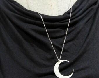 Moon Necklace | Crescent Moon Necklace | Sterling Silver Hammered Necklace | Brushed Silver Moon Necklace | Crescent Pendant | E Ria Designs