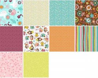 Tweet Town 2-1/2 Inch Strips, 3 Wishes Fabric, Precut Fabric, Quilt Fabric, Cotton Fabric, Novelty Fabric