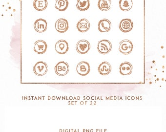 Rose Gold Instant Download Social Media Icons, ( ICON6 )