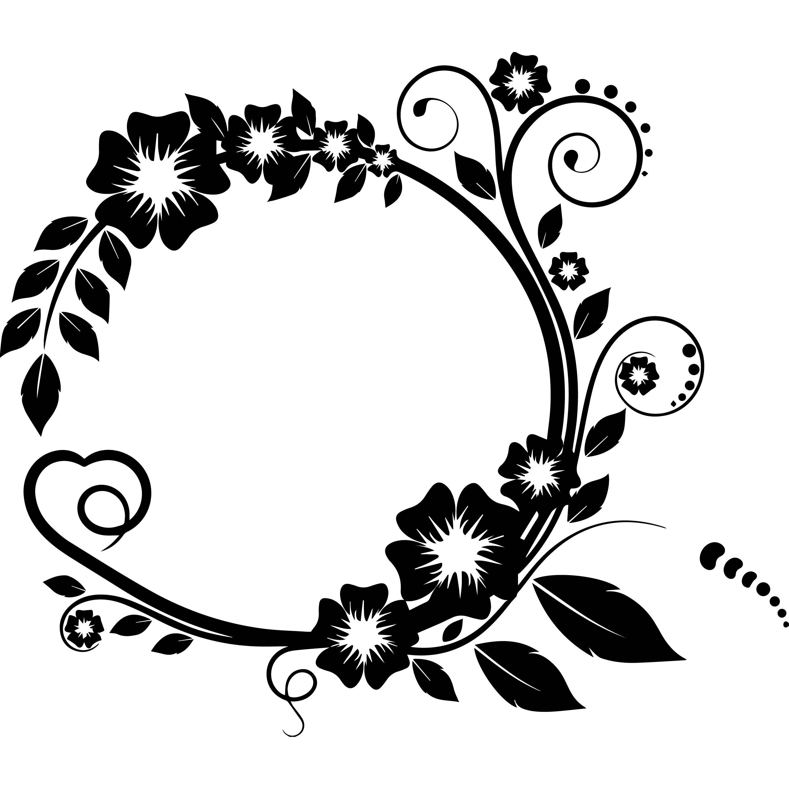 Design Circle Ribbon Decoration Logo Flowers Roses Design