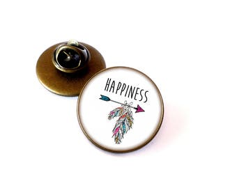 Badges • Happiness • customizable bronze glass Cabochon