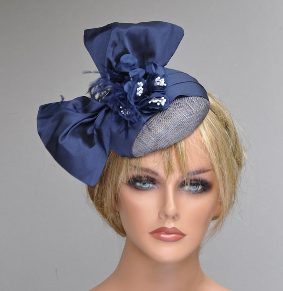Wedding Fascinator Hat, Navy Fascinator, Derby Fascinator Hat, Derby Hat, Formal Hat. Occasion Hat