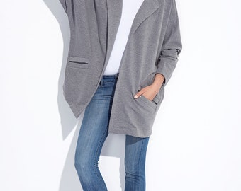 Gray sports womens open blazer kimono cut