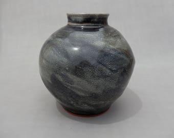 Spherical Pottery Vase, Round Vase, Black Terracotta Handmade Earthenware