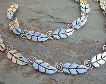 Vintage Mid-Century Taxco Sterling Silver Leaf with Spiral Stem Link Necklace and Bracelet Set