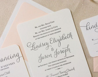 The Verbena  Suite - Modern Letterpress Wedding Invitation Sample, Black, Blush, Pink, Liner, Calligraphy, Script, Swirls, Simple, Classic