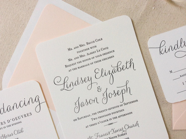 Verbena Suite Modern Letterpress Wedding Invitation Sample