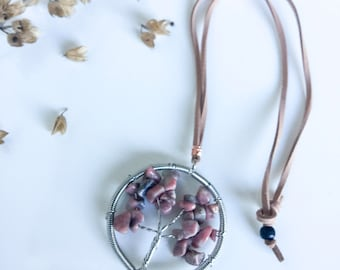 Tree Of Life Pendant, Bohemian Pendant, Tree Of Life Necklace, Boho Jewellery, Rhodonite Necklace, Amazonite Necklace, Healing Jewelry, Tree