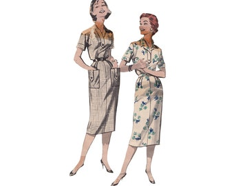 50s Spectator Dress Bust 43 Vintage Butterick Sewing Pattern 8512 Slimming Dress with Shirt Styling and Neckline Options Full Figure Size