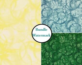 3 prints, 1 of each, Studioe, Watermark, bundle, fat quarter at mètre