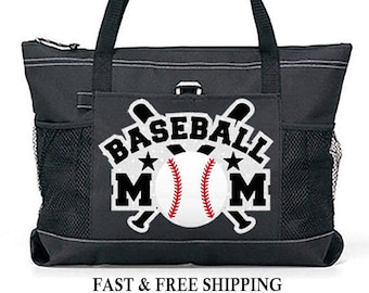 "Large 20"" Baseball MOM Sports Bag  with Silver Glitter ""Bats"" design"