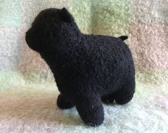Hand knit Black felted wool sheep