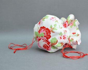 White Floral drawstring Pouch, Cath Kidston, Jewelry Pouch, white Pouch, white drawstring Pouch, floral bag, Drawstring Bag, White Bag