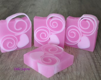 Soap with vegetable glycerine translucent pink with glitter, entirely handmade, Bubble Gum perfume-Artistic decorative