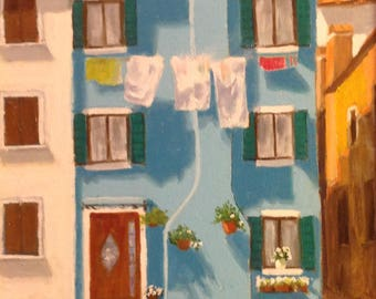 "Original oil painting  ""The Blue House, Burano, Venice"""