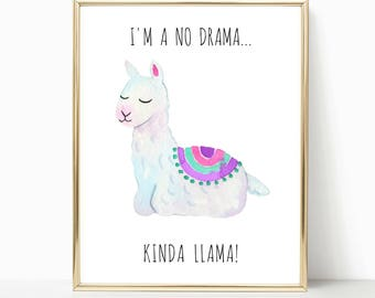teen room decor, dorm room, llama print, gift for her, bedroom decor, best friend gift, from mom to daughter, teenage girl gift, quote print