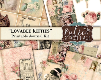 Printable, Journal Kit, Lovable Kitties, Cat Journal Kit, Kitten Printables, Printable Ephemera, Junk Journal Pages, Smash Book, Digital