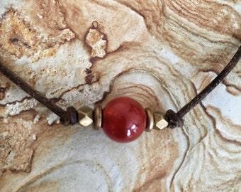 Carnelian choker, Gemstone choker, Red stone choker, Boho choker, Carnelian necklace, Natural stone choker, Layering choker, Simple choker