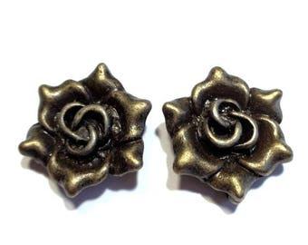 2 3D charms, flower, Camellia, bronze antique, eyelet hook on the back, 18 mm diameter