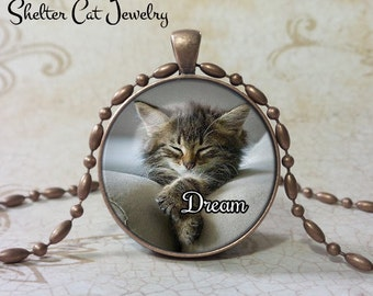 "Dream Kitten Necklace - Adorable 1-1/4"" Circle Pendant or Key Ring - Handcrafted Cat Wearable Photo Art Jewelry, Gift for Cat Lover"