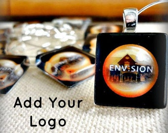 Company Logo Party Favor Charms - Scrabble Size - Event Promotion Swag - Corporate Event or Wedding Giveaway