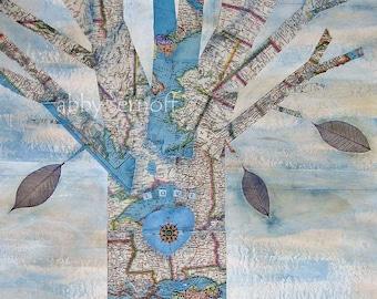 Tree art Map art Fine Art print of Original Mixed Media Collage Love Tree