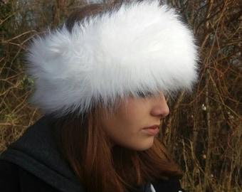 Long White Faux Fur Headband / Neckwarmer / Earwarmer Handmade in Lancashire England