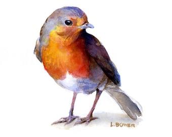 Watercolor Print / Watercolor Robin/ European Robin / 8 x 10 / Watercolor Birds/ Robin Painting