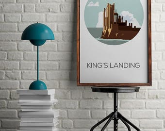 Game of Thrones poster for home decor, King's Landing draw, wall art