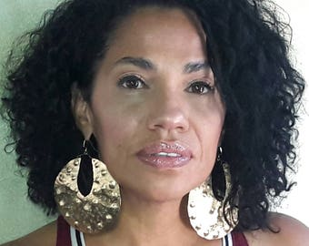 Large Afrocentric Brass Tribal Earrings