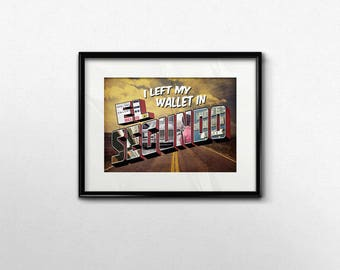 90s Hip Hop Art Print I Left My Wallet in El Segundo ATCQ A Tribe Called Quest Classic Old School Song Lyric Art Distressed