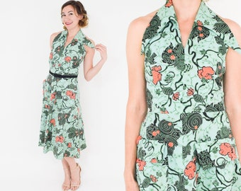50s Halter Dress | Mint Green Floral Print Cotton Dress | Small
