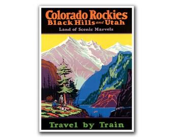 National Parks Art Colorado Rockies Poster Retro Print Home Decor (H171)