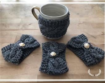 Mug Cozy, Mug Hugger, Cup Cozy, Cable Knit Cozies, Coffee Mug Cozy