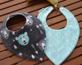 Baby bandana bibs: Bears and herringbone - Set of 2