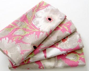 Cloth Napkins - Set of 4 - Pink Gray Beige Azaleas - Large Dinner Napkins, Table Napkins