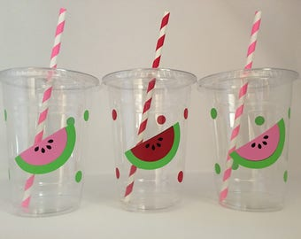 Watermelon party cups, Watermelon Birthday Party, Fruit Party cups, Watermelon Party Favor Cups, Summer Party Cups