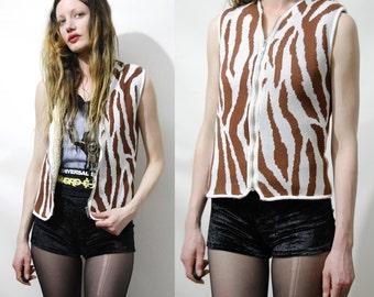 70s Vintage ANIMAL Print VEST Sleeveless Jacket Sherpa Faux Shearling Lining Zebra Boho Hippie Bohemian Retro 1970s vtg XS