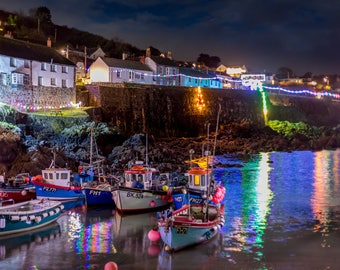 Classic Cornwall Coverack Christmas Lights Reflecting in the Harbour
