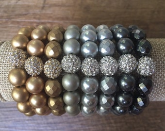 Pave & the Metallics 10mm Bead Bracelet