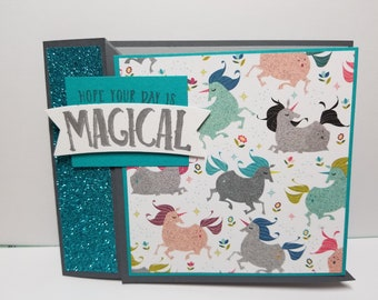 Handmade All Occasion Card, Unicorns, Magical