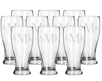 Set of 10 Etched Beer Glasses