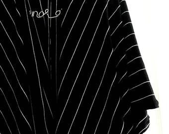 Black and White Stripe Knit Basic Cardi
