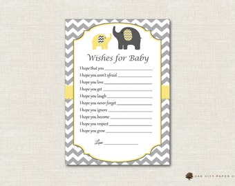 Elephant Wishes for Baby - Wishes for Baby Card, Well Wishes for Baby, Elephant Baby Wishes, Yellow, Gray, Baby Shower Wishes for Baby - DIY