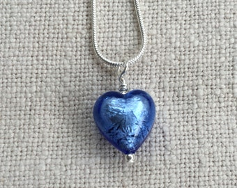 Diana Ingram necklace with cornflower blue Murano glass small heart pendant (13mm) on 925 Sterling Silver snake chain.