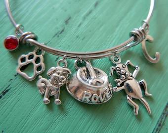 I love my dog Bracelet, initial bracelet, initial Bangle, Adjustable Expandable bracelet, stainless steel bangle