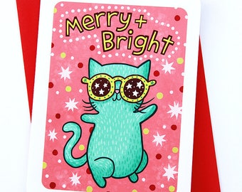 Merry and Bright Cat - Cute Christmas Card Cat Funny Holiday Card Boyfriend Holiday Greeting Cards Cute Winter Card Cat Lover Holiday card