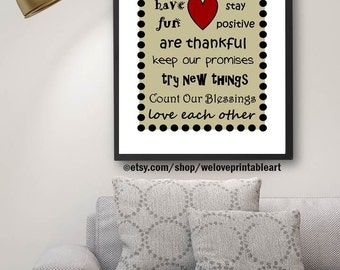 In this House, House Rules, House Decor, House Rules Sign, Family Print, Family Rules, Family Quotes, Printable Art, Quote Print, Wall Art